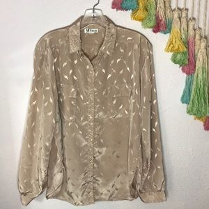 🍂VTG silk button down blouse
